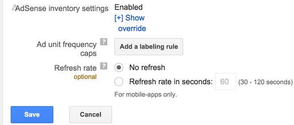 Google DFP House Ads - AdSense Inventory Settings