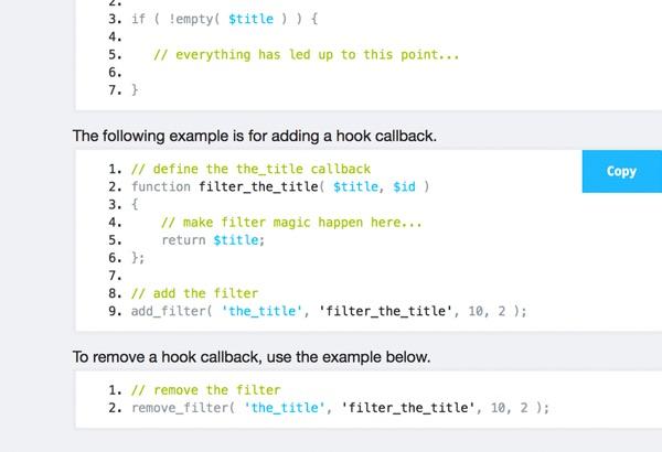 Hookr WordPress Plugin - Default Code Blocks for Core Programming Needs with Copy