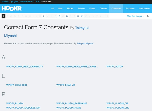 Hookr WordPress Plugin - Contact Form 7 Constants