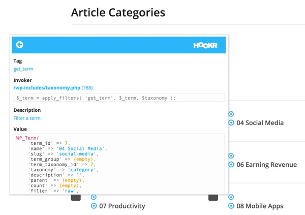 Hookr WordPress Plugin - Drill Down Into get_term Filter