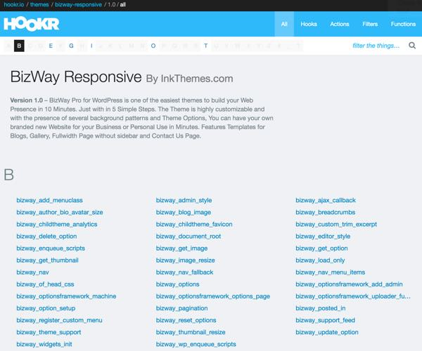 Hookr WordPress Plugin - BizWay Responsive Theme All References