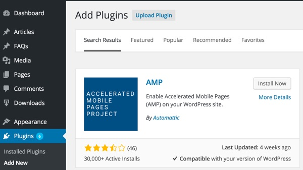 AMP for WordPress - Search for AMP plugin and Install button