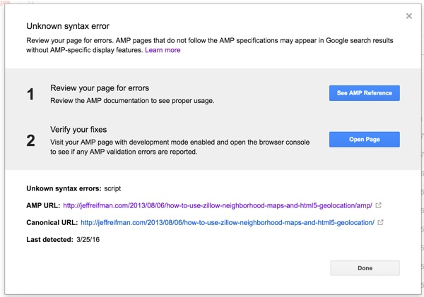 AMP for WordPress - Page Detail of AMP Error in Google Search Console