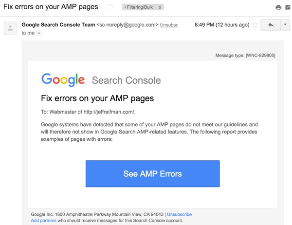 AMP for WordPress - Email from Google Search Console