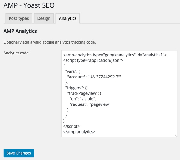 AMP for WordPress - Glue for Yoast SEO AMP Analytics Tab