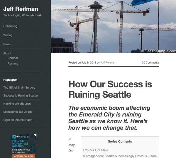 AMP for WordPress - Jeff Reifman Home Page Without AMP