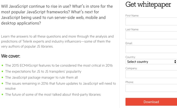 JavaScript 2016 - The Download Form for the White Paper