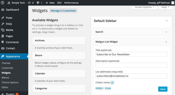 Mailgun Plugin - Adding a Subscription Widget