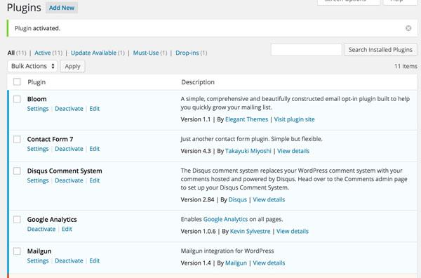 Mailgun Plugin - WordPress Plugin List After Installing