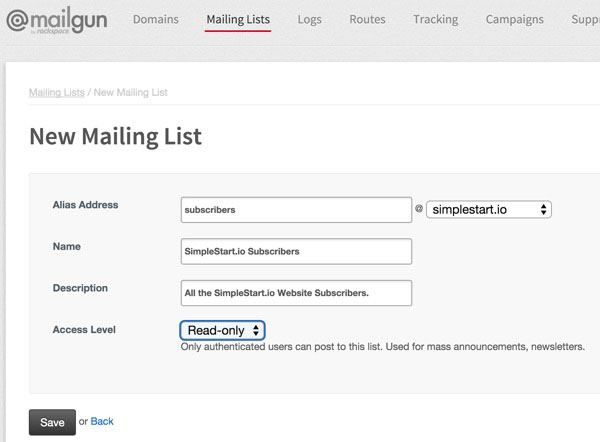 Exploring Mailgun - Create a New Mailing List