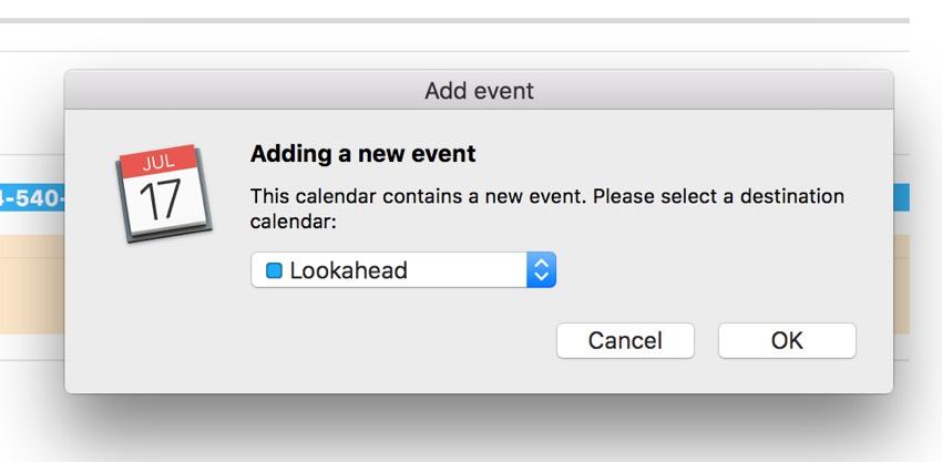 Building a Startup iCal Files - Apple Calendar Add Event Dialog Box