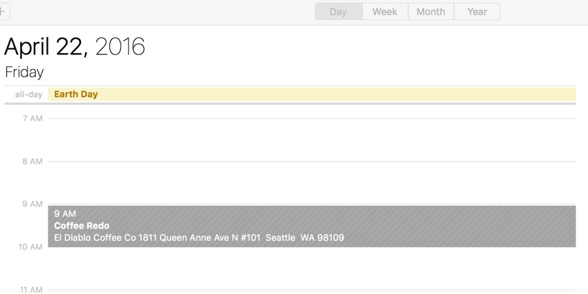 Building a Startup iCal Files - Apple Calendar Day View of Event