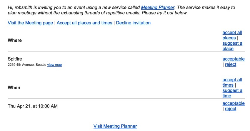 Meeting Planner Templates - Example of Corrupted View of Invitation in Gmail