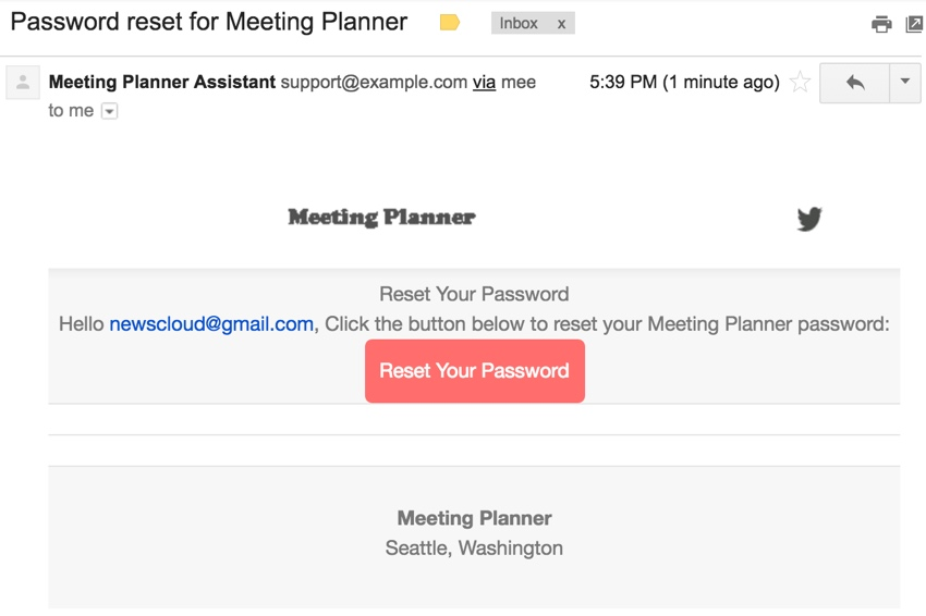 Meeting Planner Templates - Reset Your Password in Gmail