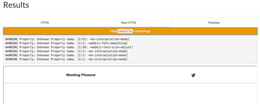 Meeting Planner Inlining - Premailer Preview