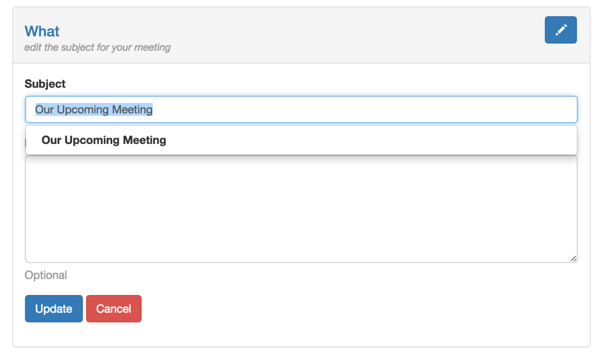 Startups Ajax - The Meeting Subject Panel Loaded via Ajax