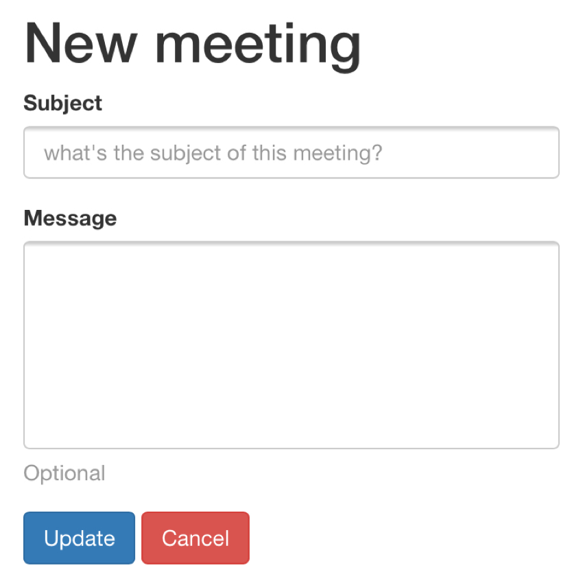 Meeting Planner Responsive Web - Default Button Spacing Desktop