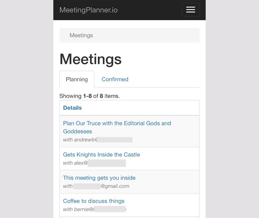 Meeting Planner Responsive Web - Responsive Meeting List