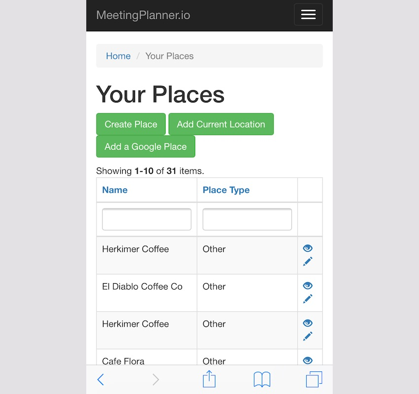Meeting Planner Responsive Web - Add Places Form
