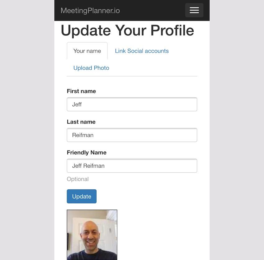 Meeting Planner Responsive Web - Profile Settings