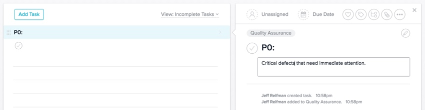 Meeting Planner Asana - The empty P0 Section