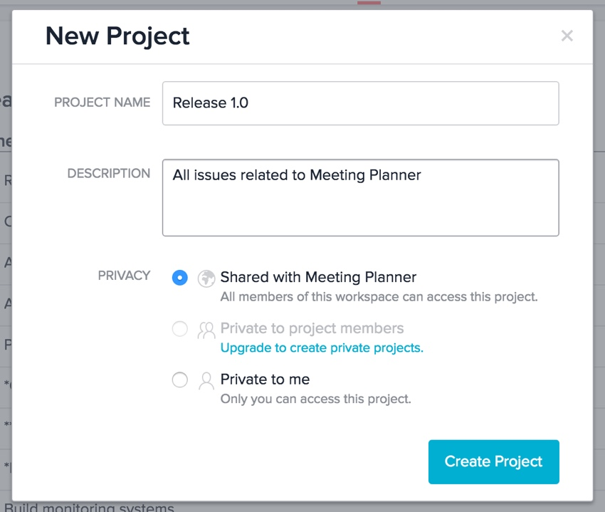 Meeting Planner Asana - New Project Form