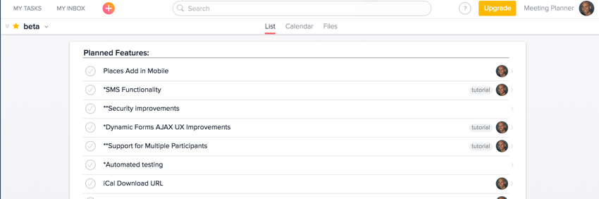 Meeting Planner Asana - Beta Release View of Planned Features