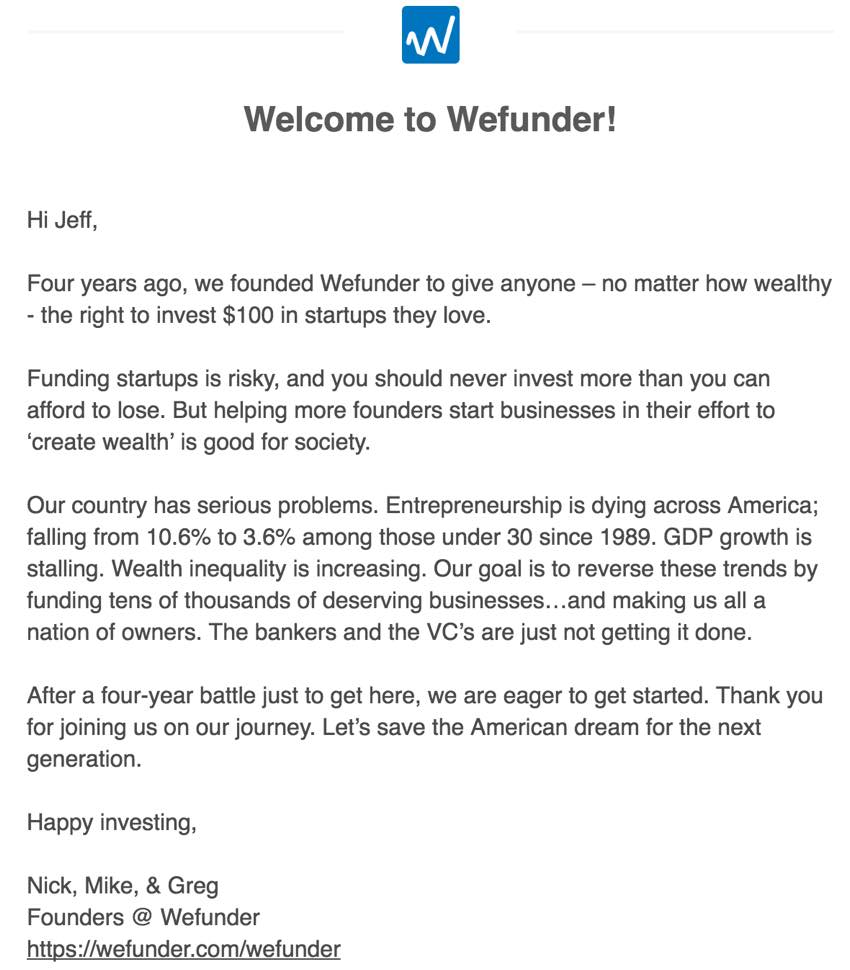 Building Your Startup Crowdfunding - Welcome email