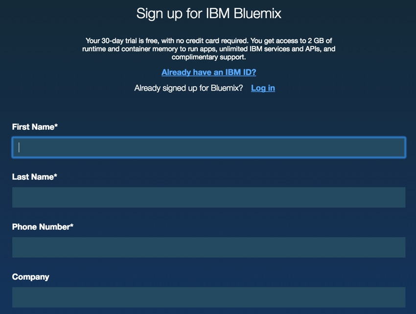 IBM BlueMix and DevOps - Sign Up for Bluemix