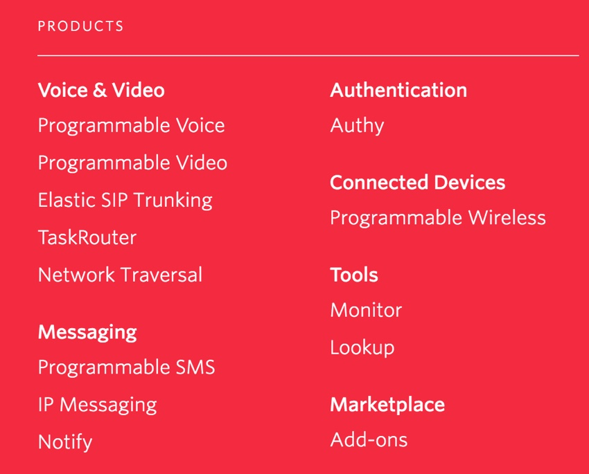 Building Startups Text and SMS - Twilio Product Offering Menu