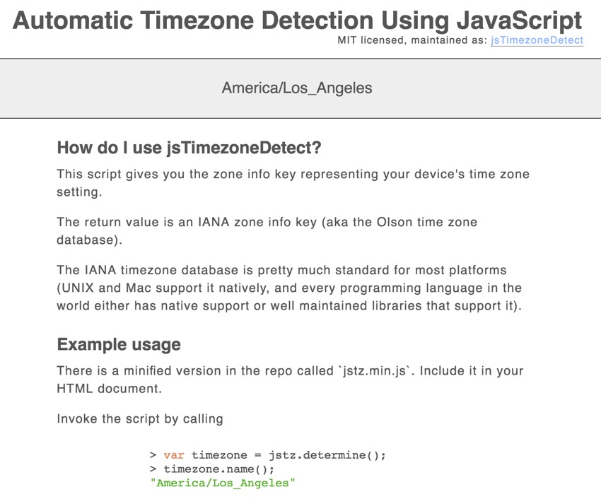 Building Your Startup Timezone Detection - jsTimezoneDetect Demo Page
