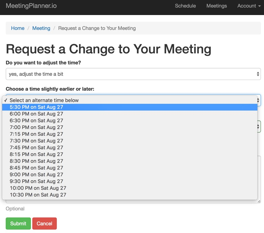 Building Your Startup: Requesting Scheduling Changes