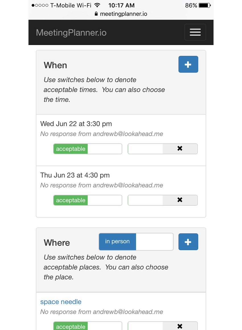 Meeting Planner Startup Series - The newer built for mobile responsive planning view