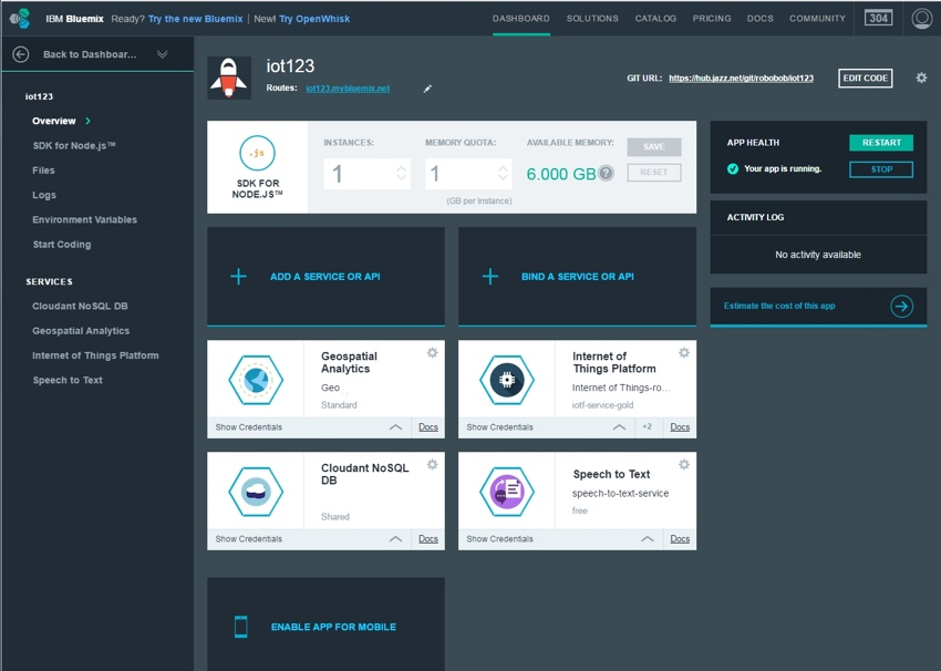 IBM Bluemix IoT Arm Gestures - Bluemix Dashboard with IoT123 Demo App