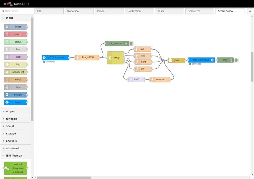 IBM Bluemix IoT Arm Gestures - NodeRED Visual Wiring Editor