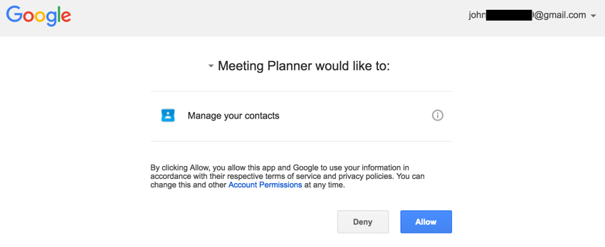 Building Startups Google Contacts API - Google Asks User for Permissions