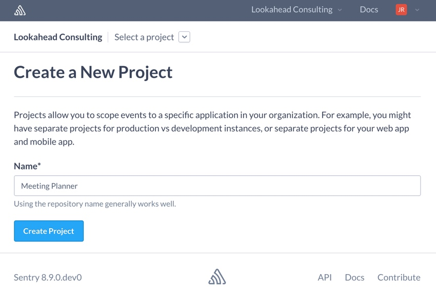 Building Startups Logging - Sentry Create a New Project Form