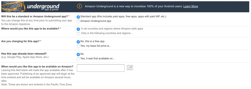 Amazon Appstore - Traditional Pricing