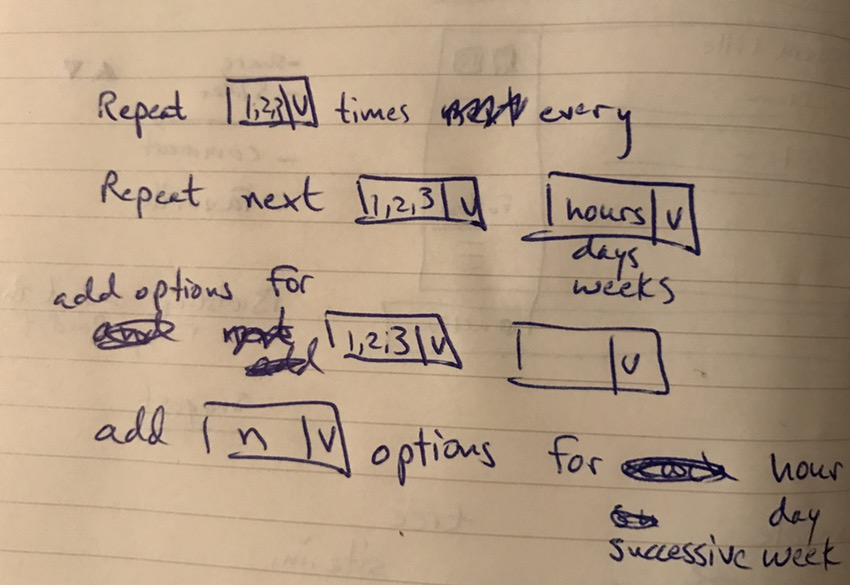 Building Your Startup - My Design Sketch for Date Time Repetition