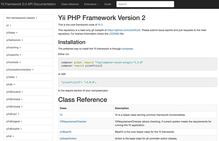 Programming With Yii - Auto-Generated Framework Documentation