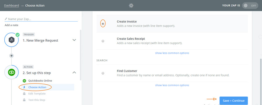 Assembla Zapier Automated Workflow - Quickbooks action Create Invoice