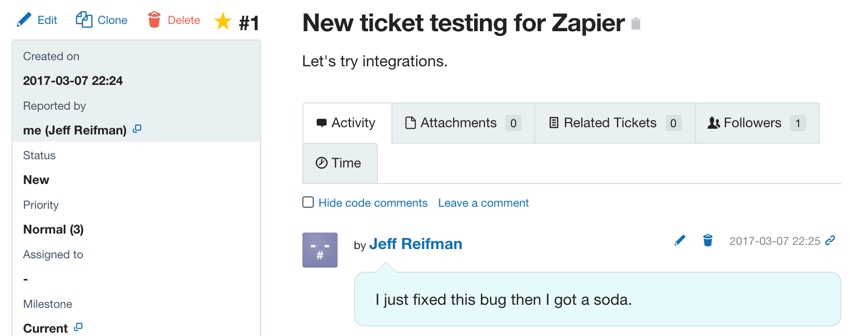 Assembla Zapier Automated Workflow - Ticket Change at Assembla