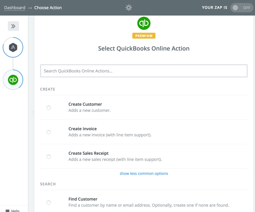 Assembla Zapier Automated Workflow - Select a Quickbooks Action