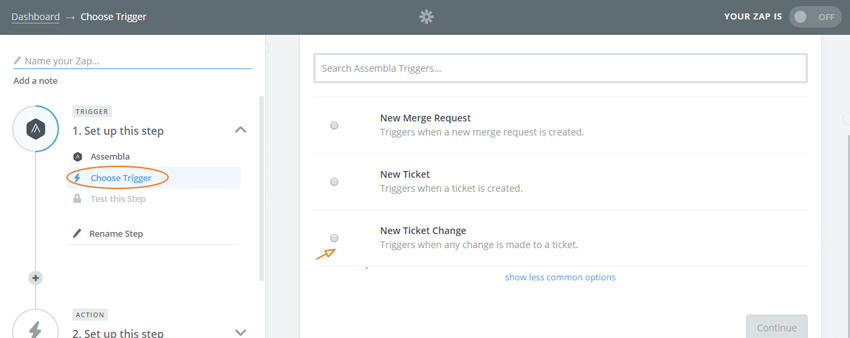 Assembla Zapier Automated Workflow - Choose the New Ticket Change Trigger