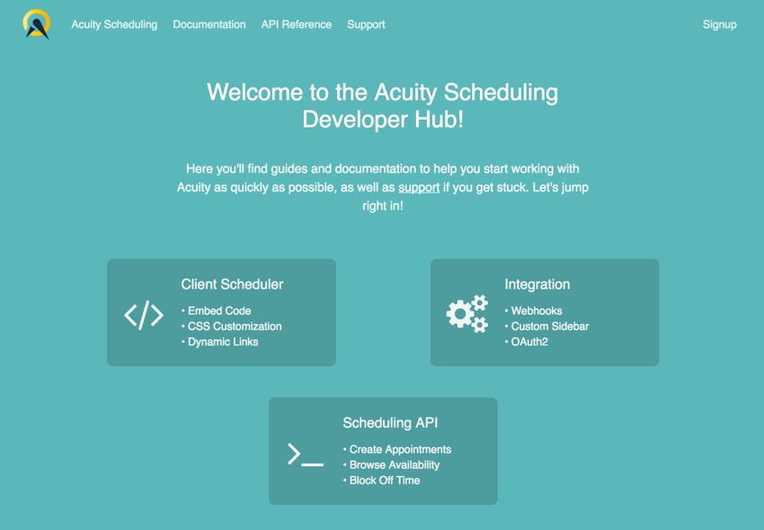 Acuity Scheduling Developer Hub APIs et al
