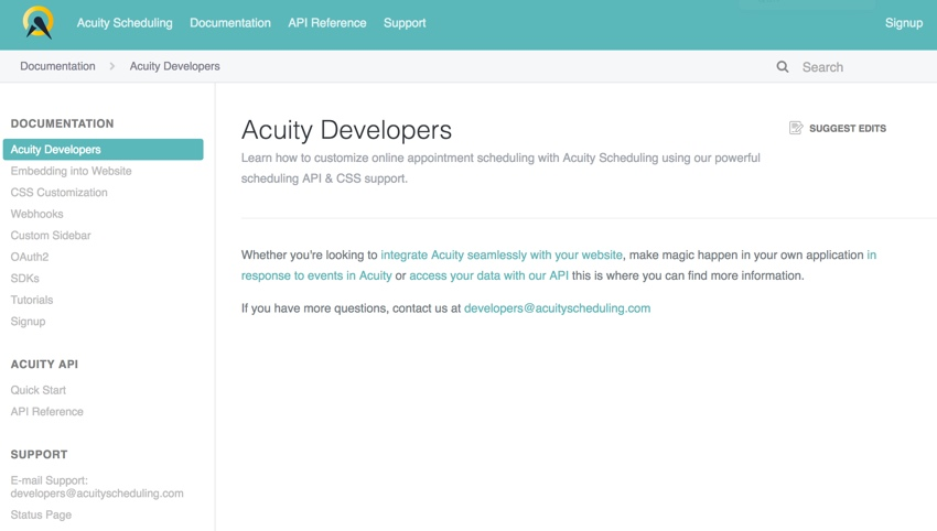 Acuity Scheduling Developer Platform - Documentation