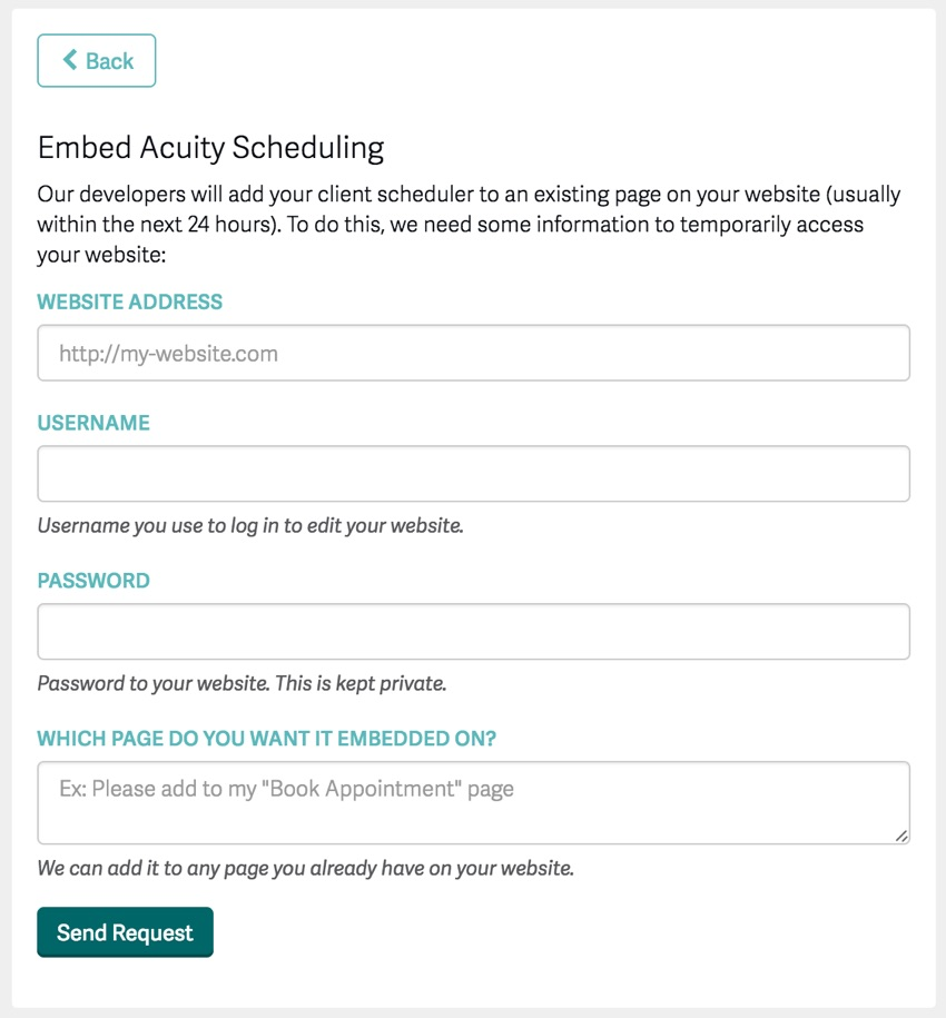 Acuity Scheduling Developer Platform - Wizard for embedding help from Acuity