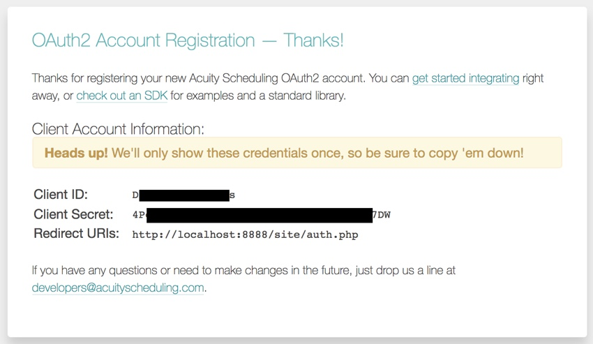 Acuity Scheduling Developer API - OAuth2 Registration Complete