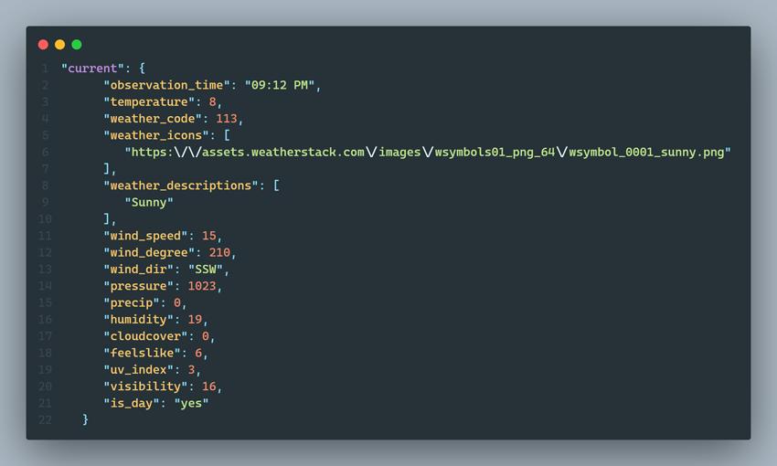 weatherstack API response