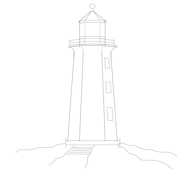 Line Art Lighthouse : Create a nautical sketch style in adobe illustrator